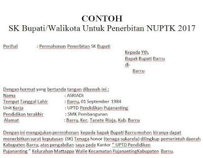 Contoh Surat Permohonan SK Bupati/Walikota Untuk Penerbitan NUPTK 2017