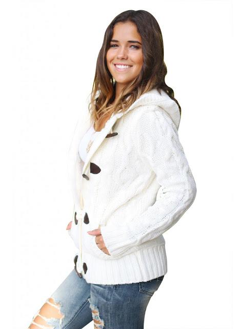 Jacheta cu gluga imblanita model tricotat