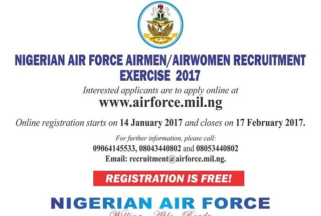 2017 Recruitment: Full Guidelines To Join The Nigerian Air Force