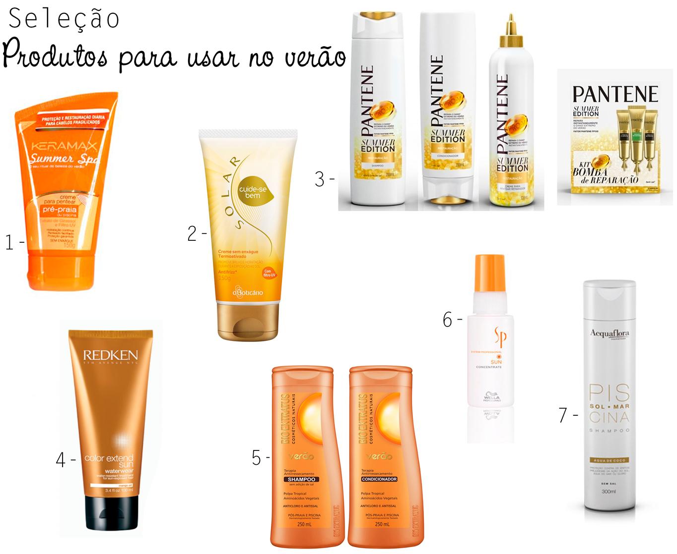 produtos, seleção, proteger, cabelo, danos, verão, sol, praia, piscina