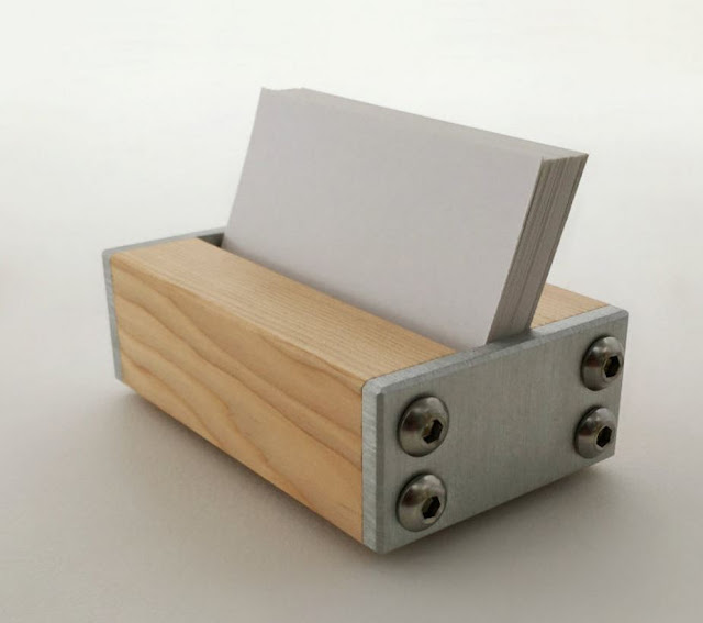 Business Card Holder Wood and Metal Office Decor