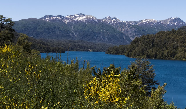 Blue lake and mountains near Bariloche Argentina on Ruta de Siete Lagos