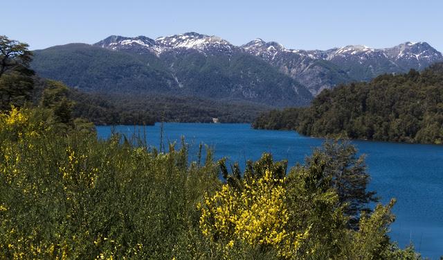 Blue lake and mountains near Bariloche Argentina on Ruta de Siete Lagos