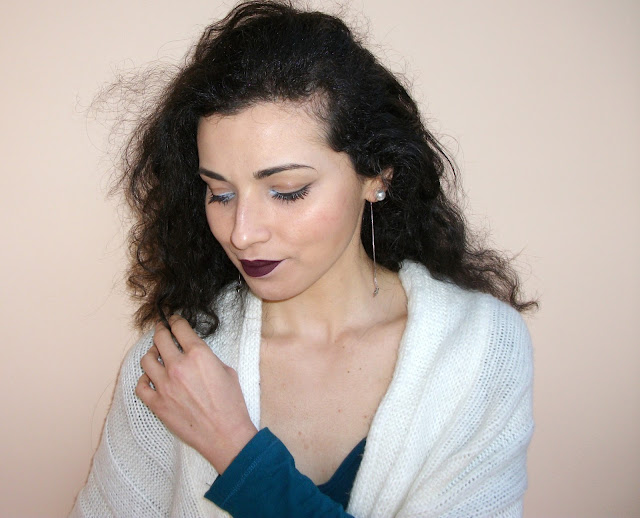 "Valentina Chirico's dark lips and ""polar eyes"" with Marc Jacobs Beauty Highliner Matte Gel Eye Crayon in Dèja Bleu 57"