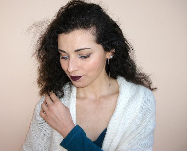 "Valentina Chirico's dark lips and ""polar eyes"" with Marc Jacobs Beauty Highliner Matte Gel Eye Crayon in Dèja Bleu 57"