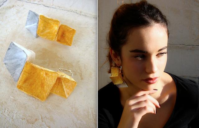 Gioielli modulari  2018, orecchini geometrici di carta di Alessandra Fabre Repetto