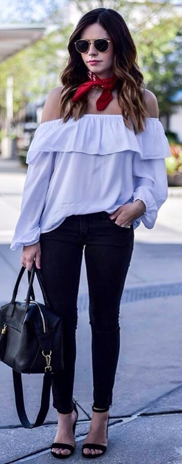 office style: off-the-shoulders + strappy heels