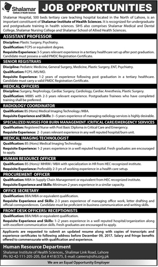 Jobs In Shalamar Hospital Lahore Dec 2017