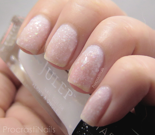 Swatch of the white wintery textured polish Julep Elsa