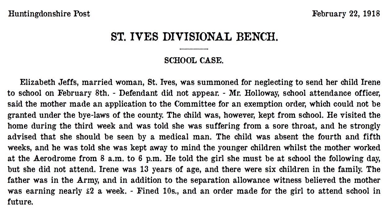 St Ives 22 February 1918