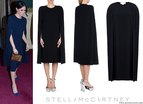 Meghan Markle wore Stella McCartney Stella Cape Dress in Navy blue