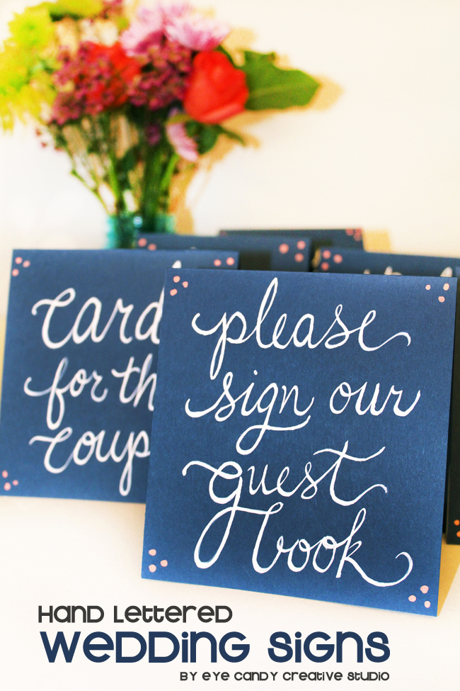 please sign our guest book, navy & coral wedding decor, hand lettering