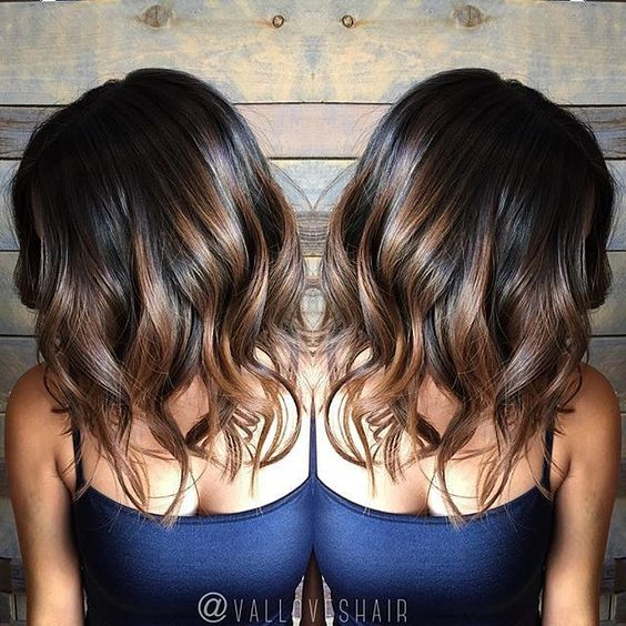 chocolate brown hair with balayage highlights