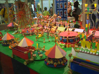 Mini midway made out of tinker toys, very colorful