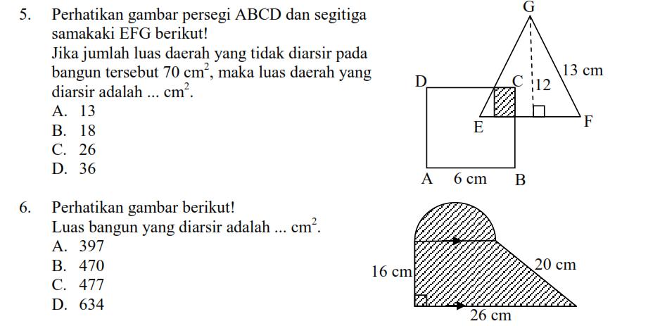 Latihan Luas Bangun Datar Matematika