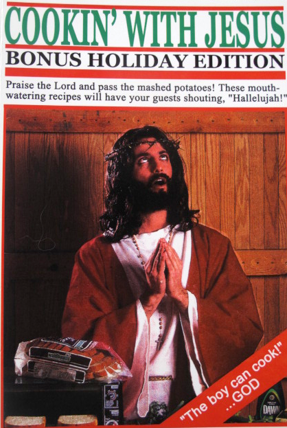 Funny cooking with Jesus religious picture