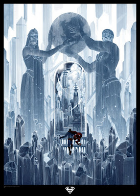 "Superman ""Jor-El & Lana Lor-Van"" DC Comics Screen Print by Nicolas Delort x French Paper Art Club"