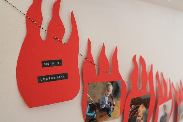 Feuerwehr Geburtstag Kindergeburtstag Feuerwehrmann Sam Jules kleines Freudenhaus Girlande Lebensjahr selbermachen DIY