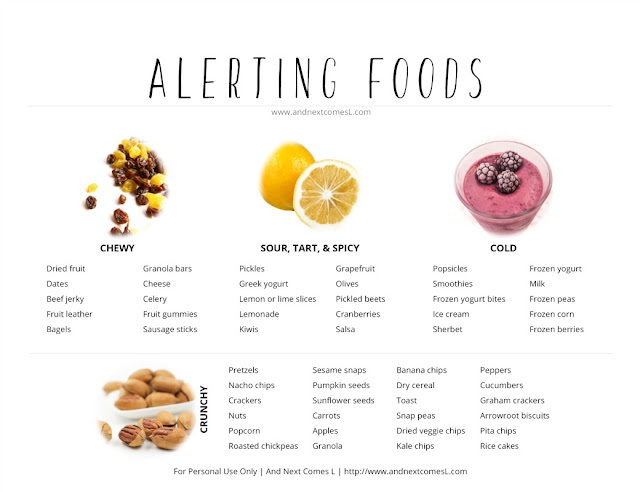 Free printable list of alerting sensory snacks for kids from And Next Comes L