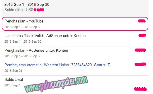 masuknya penghasilan youtube ke akun adsense