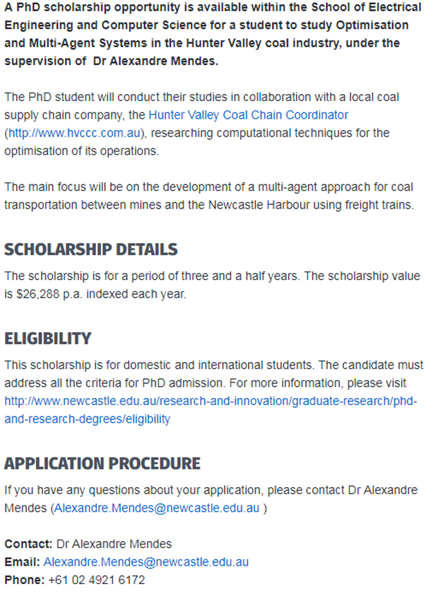UON PhD Scholarship in Optimisation and Multi Agent Systems Australia