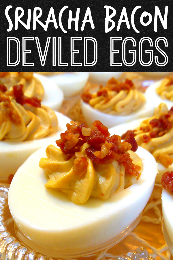 Sriracha Bacon Deviled Eggs | An easy recipe for deviled eggs with sriracha and crumbled bacon perfect for parties, game day or just changing these up a little!