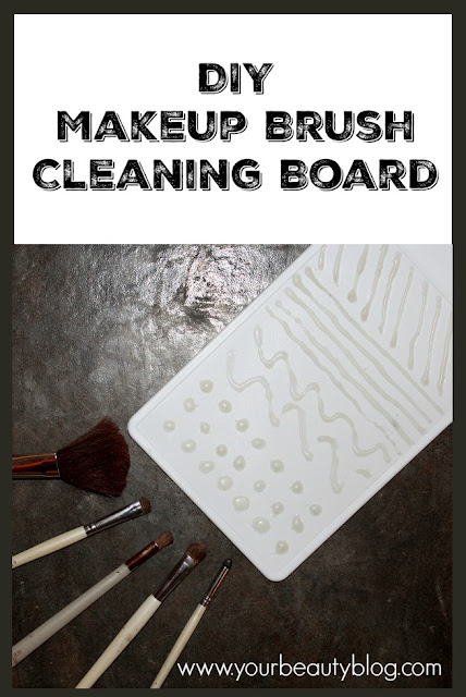DIY makeup brush cleaning board made from a cutting board and hot glue