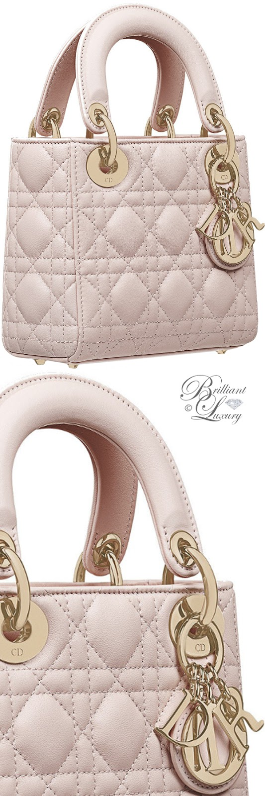 Brilliant Luxury ♦ Mini Lady Dior bag in rose poudre lambskin