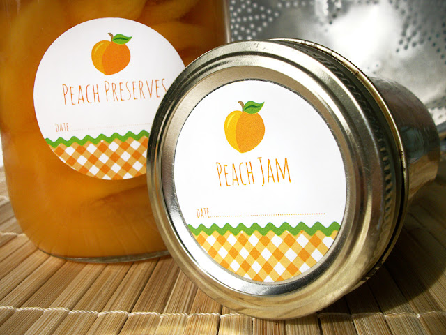 Gingham Peach canning jar labels