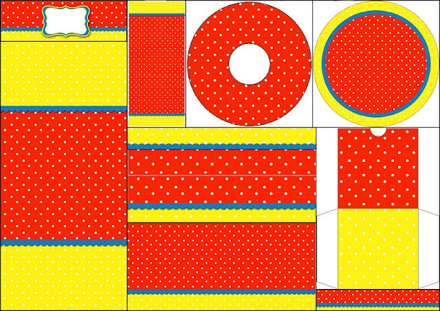 White Polka Dots In Yellow And Red Free Printable Candy