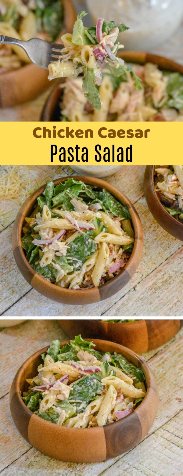 Chicken Caesar Pasta Salad #chicken #pasta #salad