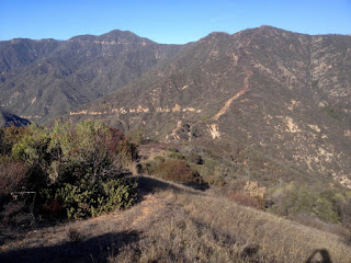View north toward old 2N28 and the saddle between Roberts Canyon (left) and Water Canyon (right) with Pine Mt. (left, 4539') and Silver Mt. (right, 3385') above, Angeles National Forest