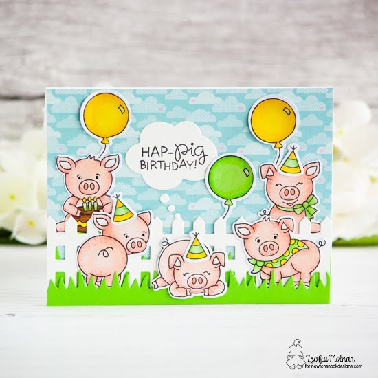 Pig Birthday Card by Zsofia Molnar | Oink Stamp Set, Fence Die, Land Borders Die Set and Speech Bubbles Die Set by Newton's Nook Designs #newtonsnook #handmade