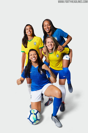bdbc4d23a6a The Brazil 2019 Women's World Cup away jersey os blue with yellow brandings  and an interesting all-over print.