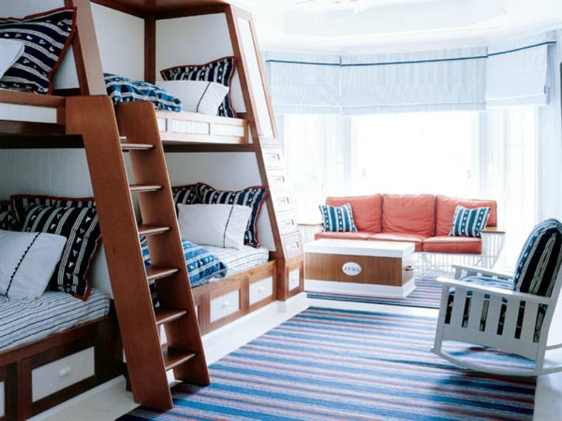 Nautical coastal kids bunk room