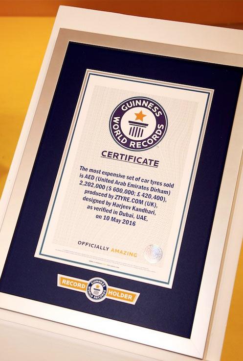 Kỷ lục Guinness đã xác nhận đây là chiếc lốp đắt nhất thế giới