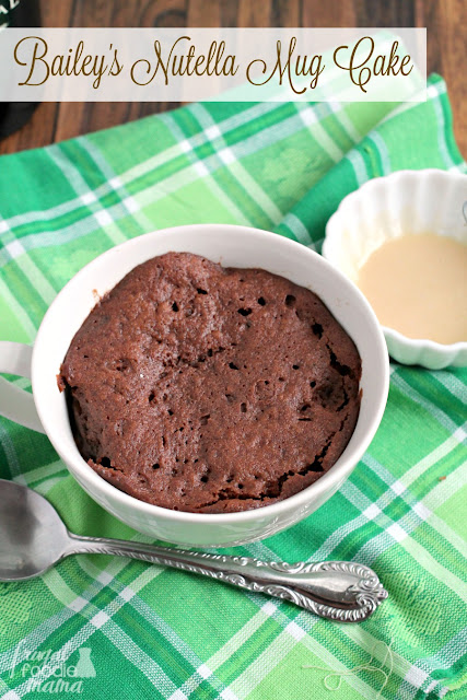 Ready in less than 3 minutes, this Bailey's Nutella Mug Cake is a fudgy, yet fluffy chocolate cake for one that is drizzled with a simple Irish cream glaze.