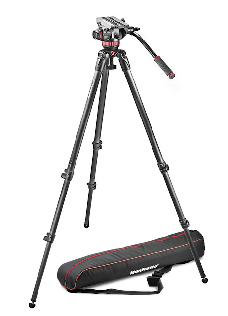 Manfrotto 3 section aluminium tripod with head and carry bag