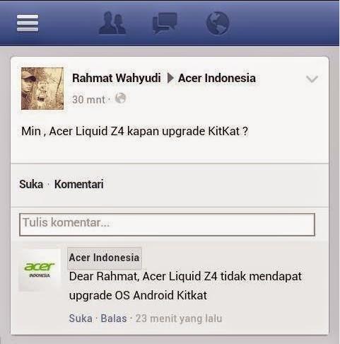 Acer liquid z4 tidak update kitkat