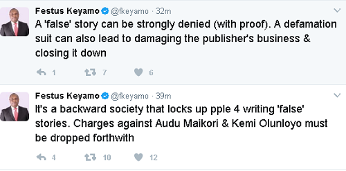 It is only a backward society that will lock up people for writing 'false'- Keyamo makes case for  Audu, Kemi Olunloyo