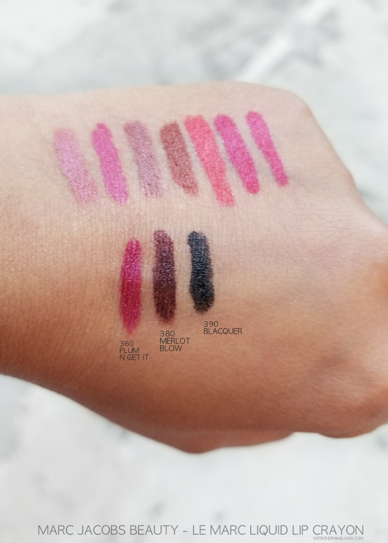 Marc Jacobs Beauty - Le Marc Liquid Lip Crayon - Swatches - 360 Plum N Get It - 380 Merlot Blow - 390 Blacquer