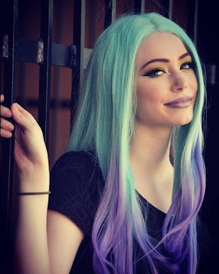Green/Lavender Wave Ombre Synthetic Lace Front Wig