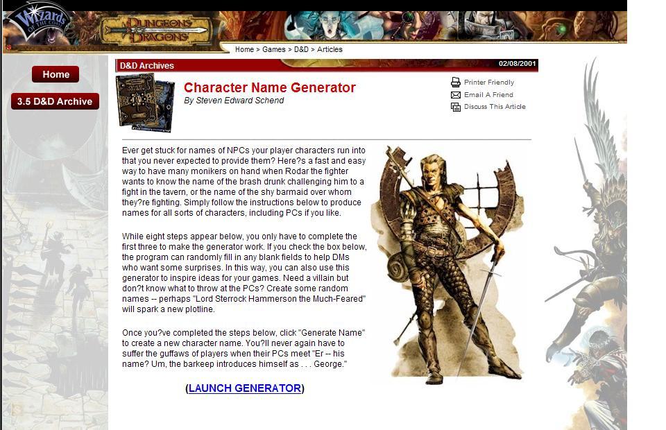 Name Generator: Librarian D.O.A.: Character Name Generators