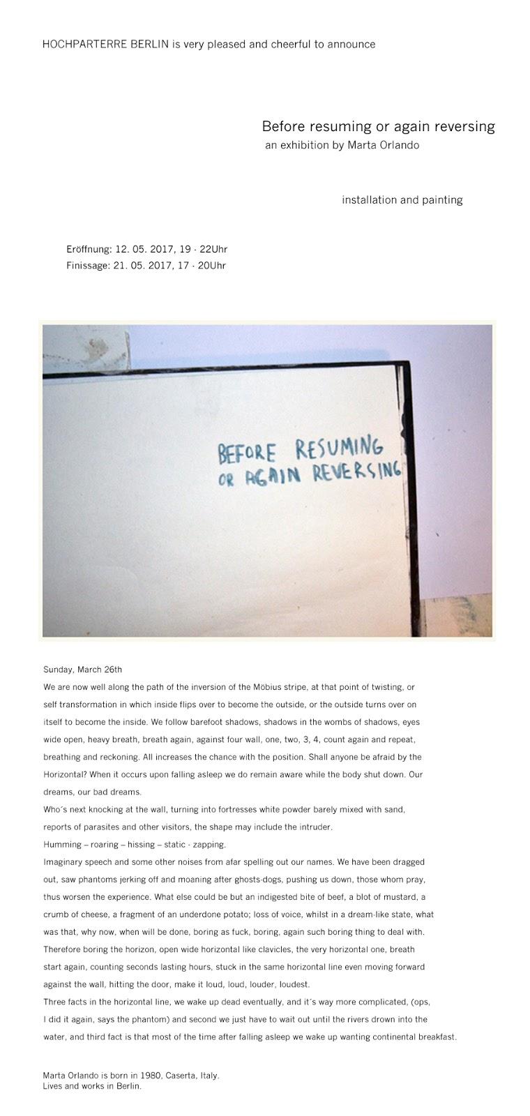 berfor resuming or again reversing exibition by marta orlando