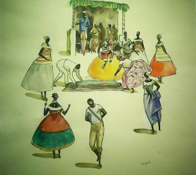 Representação de um terreiro de Candomblé com várias pessoas.