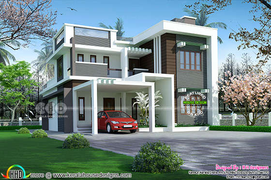 2896 sq-ft 4 bedroom contemporary flat roof home