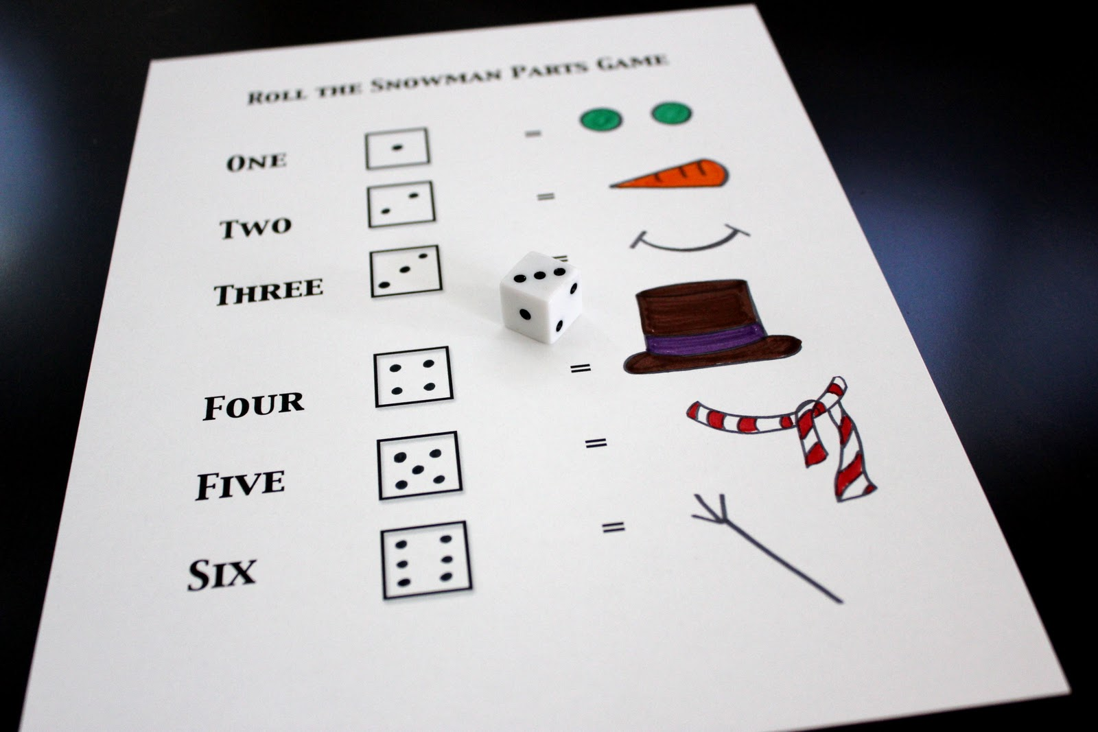Toddler Approved Build A Snowman Dice Game