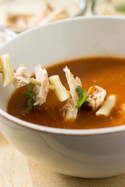 Slow Cooker Cajun Soup served with Chicken, Pennette Rigate and Cilantro