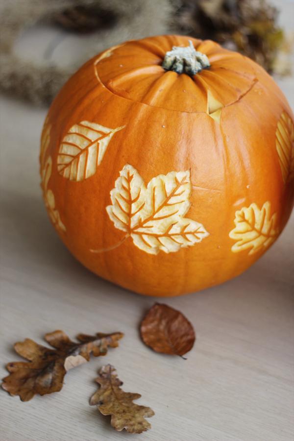Halloween Pumpkin with Autumn Leaves, via Scandinavian Love Song