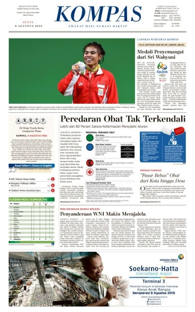 Kompas Edisi Senin 8 Agustus 2016